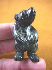 (Y-BEA-ST-705) Green Black STANDING BEAR gemstone carving FIGURINE love bears