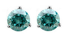 0.86CT BLUE ROUND DIAMOND SOLITAIRE STUD EARRINGS 14K WHITE GOLD WITH CERTIFIED