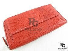 PELGIO New Genuine Crocodile Caiman Skin Leather Zip Clutch Wallet Purse Red