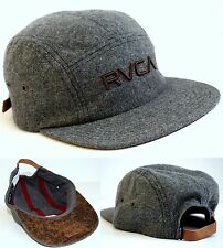 RVCA Camper Hat 5 Panel Strapback Cap Grey WOOL Urban Streetwear Mens