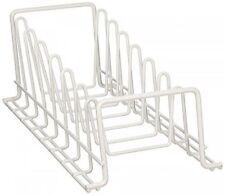 Kitchen Cabinet Pot Pan Lid Organizer Pot Storage Holder Steel Rack Pantry White