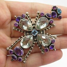 Nicky Butler Sterling Silver Large Multi Color Gem Gorgeous Bright Cross Pendant