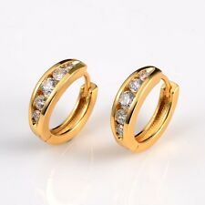 18k Yellow Gold Filled Lady Wedding Earrings 15mm Charming Hoops Fashion Jewelry