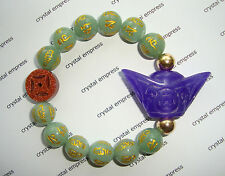 Feng Shui - Purple Jade Ingot & I-Ching Coin with 12mm Jade Mantra