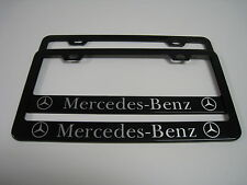 (2) BLACK Coated Metal License Plate Frame - MERCEDES-BENZ (C/E/S/CLS Class)