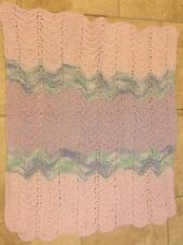 "HAND KNITTED Baby    Shawl  LAP Blanket   STROLLER  26"" x 34""  Ice Cream COLORS"