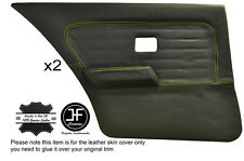 YELLOW STITCH 2X REAR FULL DOOR CARD LEATHER COVERS FITS BMW 3 SERIES E30 SALOON