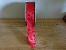 "5 Metres Red Wire Edged Christmas Ribbon 3.8cm/1.5 "" Wide."