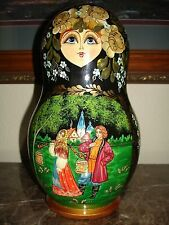 Russian Fairy Tale Matryoshka Babushka Nesting Stacking Wooden Doll Hand Painted