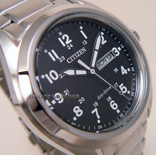 CITIZEN MEN ECO DRIVE BLACK FACE STAINLESS STEEL DAY DATE 100m AW0050-58E cg