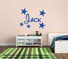 Personalised Name & Stars Wall Art Boys Room Childrens Kids Sticker Vinyl mural