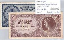 2 BILLETS HONGRIE - 10.000 PENGO et 1 MILLIARD - 3.6.1946 *