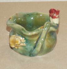 """NEW CHINESE ORIENTAL 3"""" FROG LOTUS FLOWER LILLY BAMBOO PLANTER PLANT POT CUTE"""