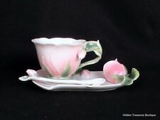 Pier 1 Imports Rose Porcelain Embossed Raised Floral Cup Saucer Spoon Set