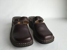 Shoes Born 9 40.5 M/W Brown Leather Wedge Heel Mules Clogs Slip On Comfort