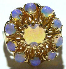 ESTATE 14K YELLOW GOLD VINTAGE JELLY OPAL WOMENS COCKTAIL RING SIZE 7.25