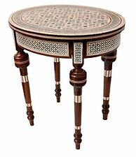 Handcrafted Egyptian Moroccan Mother of Pearl Inlay Wood Coffee Side Table, New,