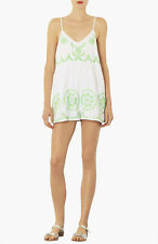 Topshop White Embroidered Baggy Playsuit - White & Green - Large - Box6170 D