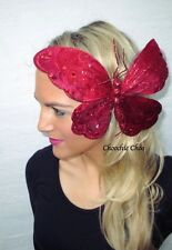 Huge Big Red Glitter Butterfly Hair Clip Head Piece Choochie Choo Bridesmaids