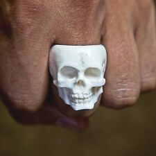 Hand Carved Gothic Skull Ring Biker Jewelry Cool Mens Rings