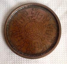 Antiguo Oriente Medio bandeja redonda de cobre estañado