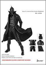 CC224 1/6 Clothing Black Leather Overcoat & Bodysuit Full Set for HOT TOYS