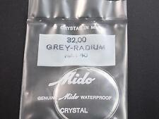 Ref#40 Mido Vintage 32mm Watch Crystal Grey Radium Tension Ring Waterproof NOS