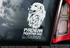 Pyrenean Mountain Dog - Car Window Sticker - Great Pyrenees Dog on Board Sign