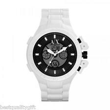 NEW-ARMANI EXCHANGE WHITE SILICONE DUAL TIME DIGITAL ANALOG MEN WATCH AX1195+BOX