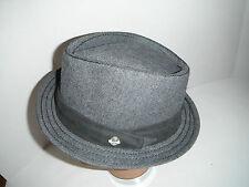 Stetson PORK PIE Fedora DIAMOND TOP wool tweed HAT ( denim look ) NEW hat LARGE