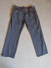 MEN'S COOGI GRAY JEANS PANTS 40x35 STRAIGHT LEG EUC BLACK LEATHER & RED TRIM