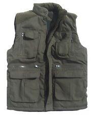 PADDED OUTDOOR BODYWARMER mens XL olive gillet coat tough multi pocket jacket
