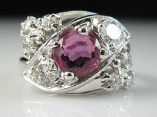 Vintage Platinum Ruby Diamond Ring Estate G/VS Oval Red Pink Size 3.5 $3995