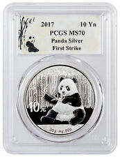 2017 China 10 Yuan 30g Silver Panda PCGS MS70 First Strike Panda Label SKU43864
