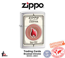 Zippo Trading Cards Lighter Brushed Chrome Classic USA Genuine Windproof 28831