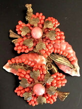 Vintage Miriam Haskell Coral Carvel Leaves & Seed Bead Brooch Pin, Signed