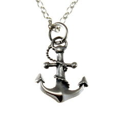 "Sterling Silver Anchor Pendant Necklace with 18"" Chain & Gift Box"