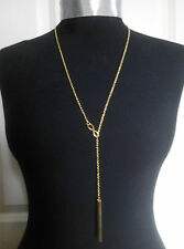 "A Gold Tone Stick Noble Bar Infinity Charm Muti Style Y- Necklace 20"" Body chain"