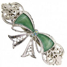 1928 Jewelry Green Enamel & Crystal Bow Barrette Silver-Tone **Made in the USA**
