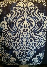 NEW CYNTHIA ROWLEY queen 3PC QUILTED DUVET COVER SET NAVY BLUE WHITE MEDALLION
