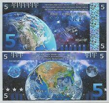 Interplanetary Monetary Authority - 5 Solari - 2016 UNC - Earth (Fantasy Note)