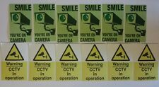 Set of 12 CCTV Security Stickers - cctv warning sign mixed sticker pack