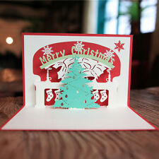 Creative 3D Pop Up Greeting Cards Handmade Christmas Tree Children Gift