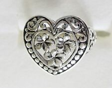 Heart & Flower Ring in 925 Sterling Silver size 6