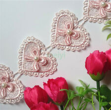 1 yard Lace Bow Heart Pearl Applique Patch Sewing Craft Trim Dress Ribbon Motif