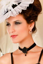 Women's Black Gothic Rose Necklace with Metal Bow Fancy Dress Accessory