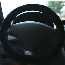 Faux Sheepskin Plush Stretch On Vehicle Car Steering Wheel Cover Black 1pc