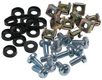 """Cage Nuts and Bolts for 19"""" Rack Mounts M6 Size Silver  !! Pack of 50 !!"""