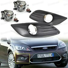 2Pcs Front Fog Lights Lamp, 2Pcs Cover Grille for Ford Focus 2009 2010 2011
