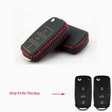 Leather 3BTN Remote Key Fob Chain Case Cover Holder for Jetta Passat Golf Beetle